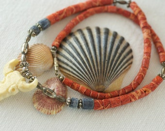 Vintage Kitschy Western Style Carved Cow Skull Sterling Silver Bead Coral Sodalite Choker Style Necklace  .....6185