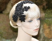 Black Birdcage Veil With Lace Bridal Bridesmaid Wedding Special Occasion Hair Accessory