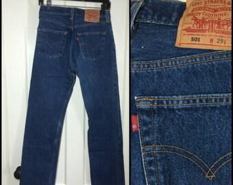 Vintage Levi's Blue 501 button fly jeans 29X32 Straight Leg denim made in USA Boyfriend jeans #1243