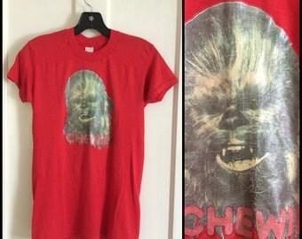 1970's Vintage Star Wars Chewbacca Chewie! T-shirt size Medium looks Small Glitter Iron On print Red shirt 16x25