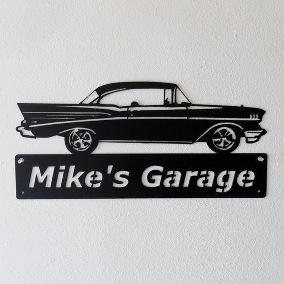 Metal Car Sign - Man Cave Sign - Personalized - 1957 Chevrolet Bel Air - Metal Wall Art - Garage Sign - Satin Black - Man Cave- Car Art