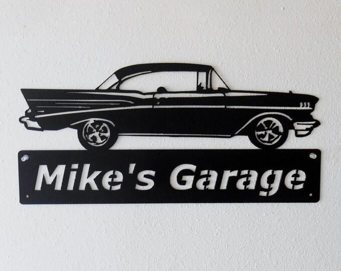 1957 Chevrolet Bel Air - Metal Car Sign - Man Cave Sign - Personalized - Metal Wall Art - Garage Sign - Satin Black - Man Cave- Car Art