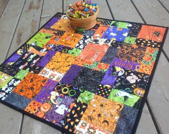 Halloween Hodge Podge 27 inch quilted table topper