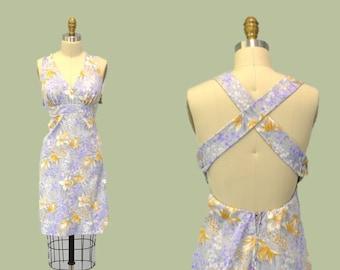 Sun dress 1970s LAVENDER PASTEL fashion / spring strapless Lolita X back 70s IngridIceland vintage hipster indie