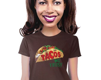 in tacos we trust geeky taco t-shirt for foodie taco lover gourmet taco fan funny gift for mexican food fan nerdy food t-shirt graphic tee