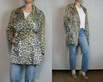 80s Double Breasted LEOPARD Print Vintage White Gold Black Acetate Rayon Belted TRENCH Coat Large Collar Small Medium 1980s