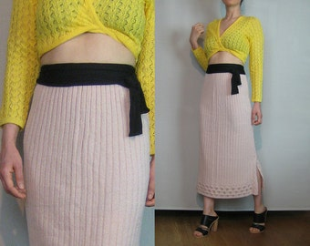 80s KNIT MAXI Vintage Pale Pink Ribbed Scalloped Pointelle Hem Faux Wrap Knitted Sweater Skirt Small Medium m/l 1980s