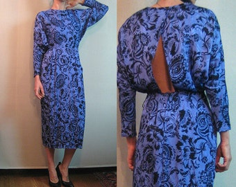 80s OPEN BACK Vintage Backless Violet Purple Black Floral Print Tapered Dolman Long Sleeves Rayon Midi Dress xs Small 1980s