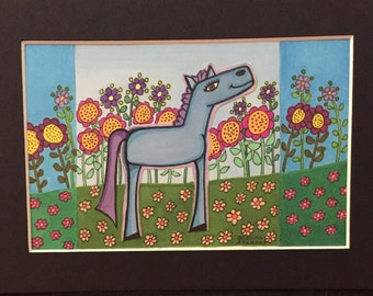 Blue and purple horse, original ink drawing, landscape, flowers, flower garden, smiling horse, abstract horse, whimsical horse