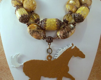Western Cowgirl Statement Necklace Set - Chunky Yellow Howlite - Palomino Horse Pendant