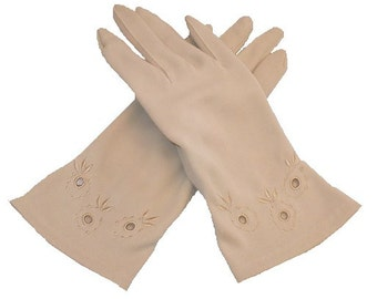 Size 6 Topaz Tones 50's Vintage Gloves, Women's Nylon Gloves, circa 1957