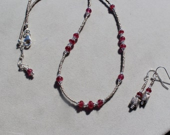 Cherry Red Spinel on sterling silver necklace and earrings set by EvyDaywear, hand made one of a kind beaded jewelry set in red and taupe