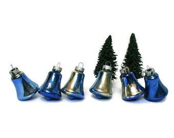 Vintage Shiny Brite Christmas Tree Ornaments / Blue Bells for Mid-Century Holiday Decor / Mercury Glass Xmas Tree Trimmings