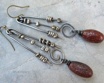 Tempest. artisan earrings primitive tribal boho mixed metals Burgundy red Polypods jewelry assemblage