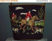 40% OFF Vintage 70s Needlepoint Bucket Purse Handbag Embroidered Fox Hunt Scene Horse Equestrian