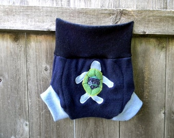 Upcycled Wool Soaker Cover Diaper Cover Shorties With Added Doubler Navy & Light Blue With Sea Turtle Applique LARGE 12-24 Kidsgogreen