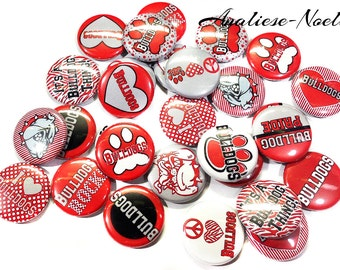 "Red Black Grey 1"" Buttons Bulldog, Bulldog Buttons, Bulldog Pins, Bulldog Mascot, Bulldog Flatbacks, Bulldog Pinbacks, Backpack Buttons"