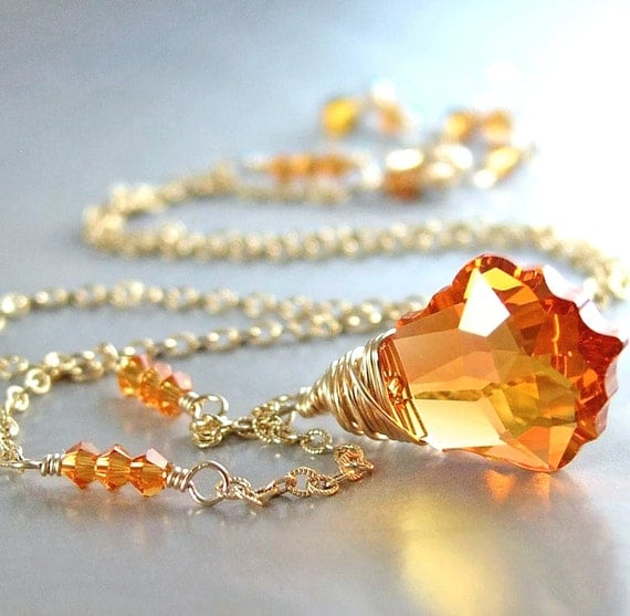 Amber Topaz Crystal Necklace 14k Gold Fill Chain Swarovski Crystal Topaz Pendant Necklace Gold Wire Wrapped Jewelry Topaz Necklace