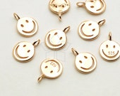 SV-138-RG / 2 Pcs - Smiley Face Charm Pendant in 92.5 Silver, Smile Charm (Small Size), Rose Gold Plated over 925 Sterling Silver / 6mm