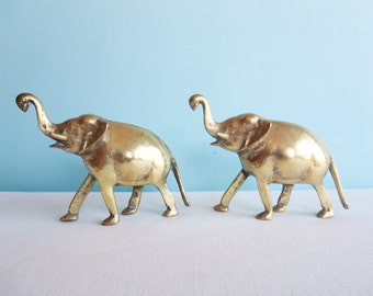 Vintage Pair of Brass Elephants