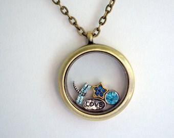 Floating Charms Locket, Memory Locket, Dragonfly Charm, Love, Star, Blue Gem, Living Locket, Antique Bronze Locket,