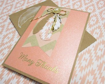 Handmade Note Cards - Set of 4 handmade cards with pretty die-cut feathers and assorted greetings