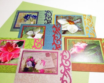 Handmade Note Cards - Set of 6 cards and envelopes featuring Penny Black In Bloom Collection