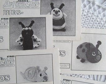 Vintage Annie's Attic Pattern Club Bug A Boos Very Rare Early Annies Crochet Pattern Caterpillar Spider Ladybug Lot of 8 Patterns 1980s