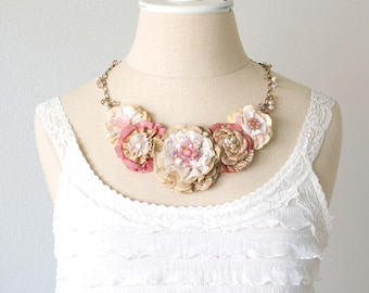 Blush Pink Fabric Flower Necklace, Statement Necklace, Bride Necklace, Gift for Women, Textile Jewelry, Unique Gift Girl