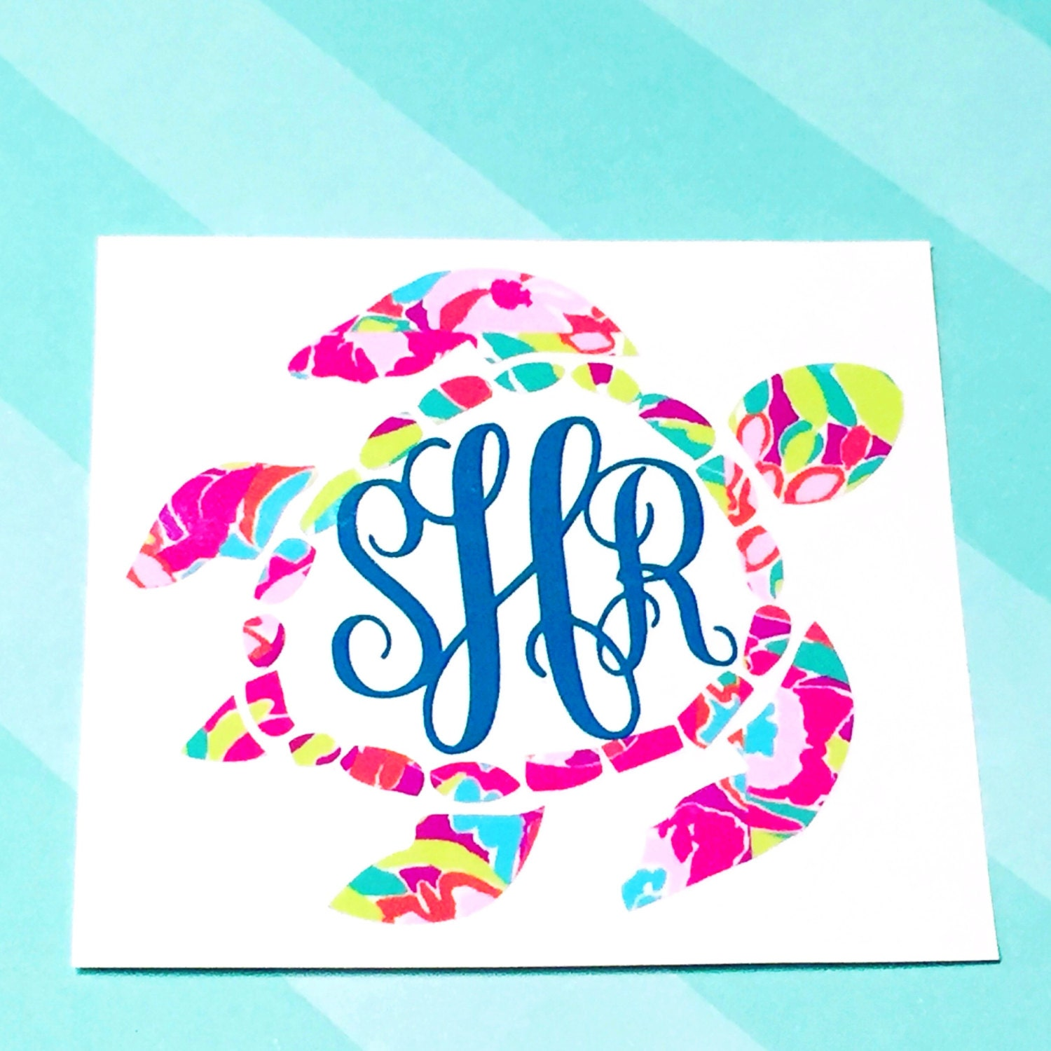 Download Lilly Sea Turtle Monogram Decal