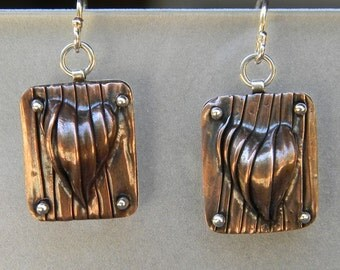 Copper corrugated and hydraulic pressed Hearts