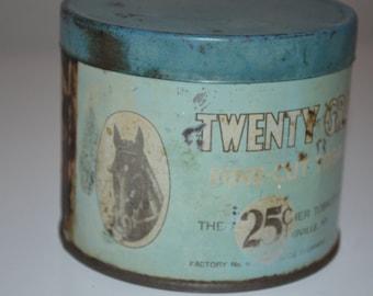 Vintage Tobacco tin Twenty Grand horse cigarette tobacco advertising tobacciana