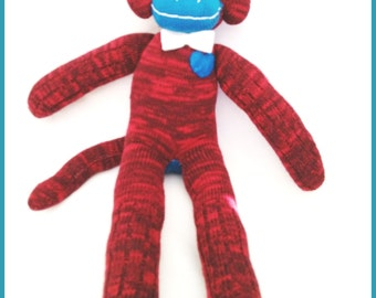 Red White and Blue Sock Monkey- One Of A Kind-with bow tie