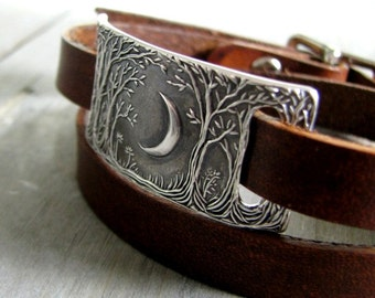 Forest Moon Double Wrap Leather Bracelet, Fine Silver Link, Original and Exclusive, by SilverWishes