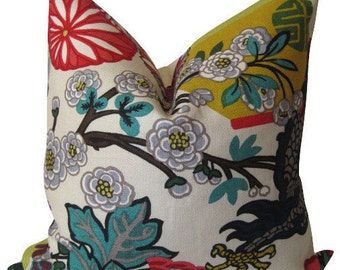 Chiang Mai Dragon - Decorative pillow covers - 20 inch  - Schumacher - alabaster - ready to ship
