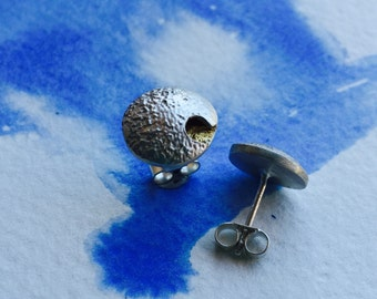 Silver otster and gold leaf stud earrings