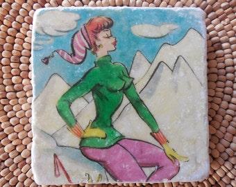 "Marble Stone Coaster - Vintage Ski - ""Perky Ski Gal"" - Ski Decor - Ski Art - Decorative Tile - Coaster - Ski"