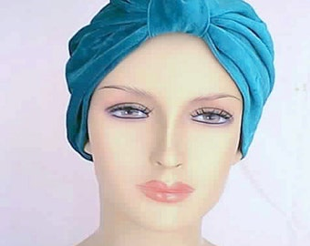 Handmade Theatrical Teal Velvet Velour Costume All Occasion Cloche Turban
