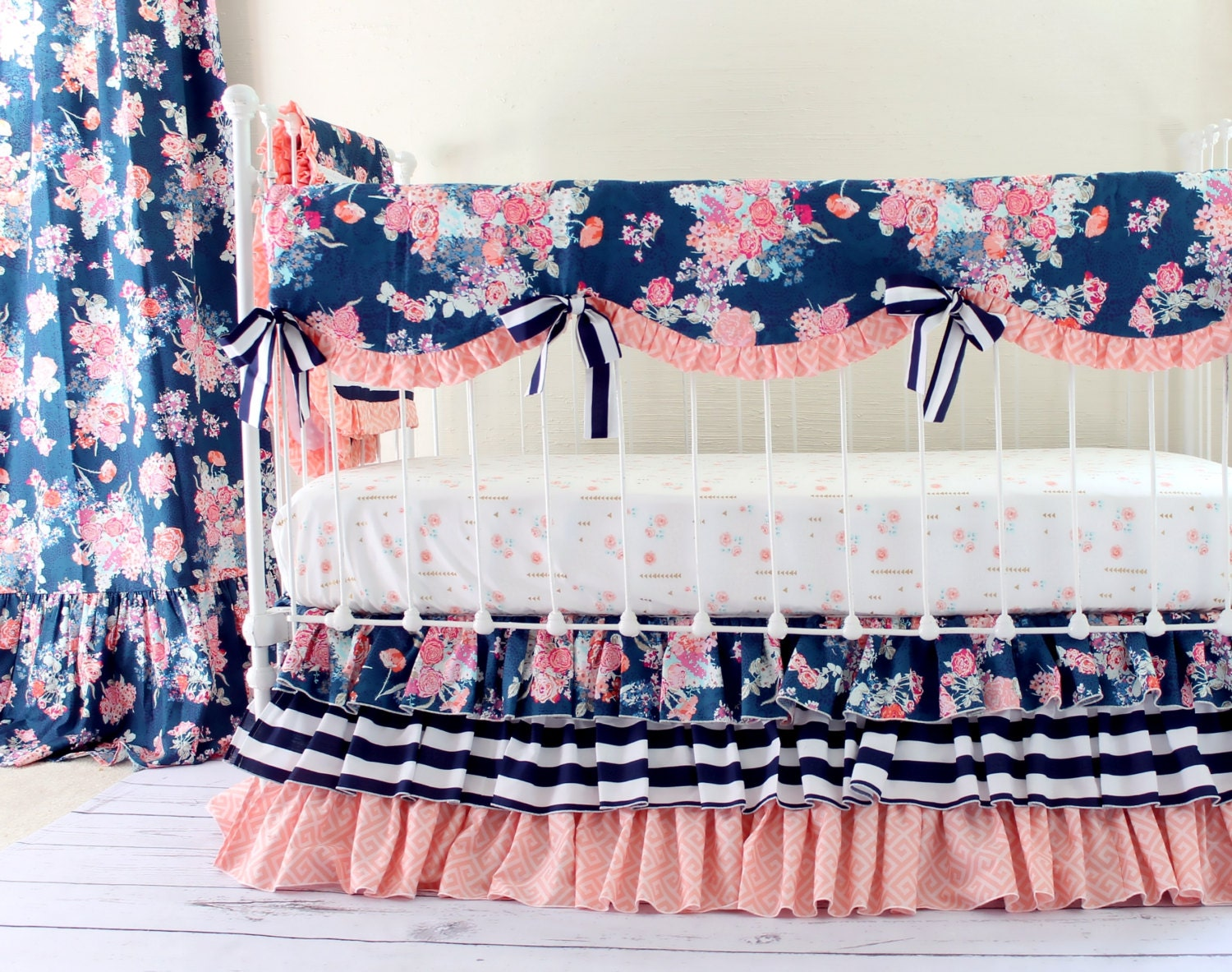 Coral And Navy Baby Girl Bedding Stripe And Floral Chic