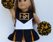 University of Missouri Cheerleader, Gym Shoes, PomPoms fits American Girl Doll