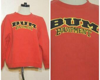 BUM Equipment Sweatshirt Red OSFM 90s Throwback Sporty Athletic Health Goth