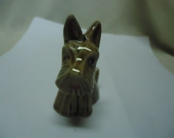 Vintage Schnauzer Dog Sitting Figurine, Japan. Brown,  collectable