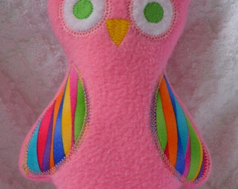 Handmade Stuffed Pink Fleece Owl toy softie