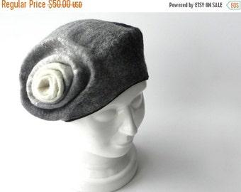ON SALE Felted hat gray hat felt beret merino wool original warm woman winter accessory ready to send Great gift idea