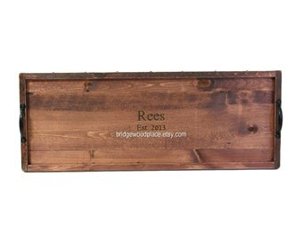 """CUSTOM FOR ASHLEY: 32L x 16W Guest Book Alternative Wood Serving Tray and """"Please Sign"""" Sign"""