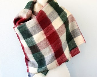Blanket scarf plaid scarf vegan winter scarf blanket shawl christmas scarf green red chekered scarf christmas gift fall wrap chunky scarf