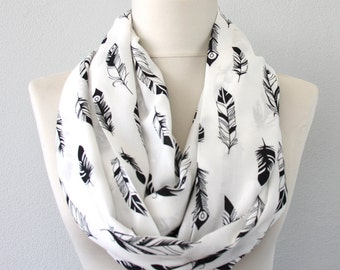 Feather scarf bohemian scarf bird feather scarf southwestern boho chic scarf woman accessory summer scarf gift for her fashion loop scarf