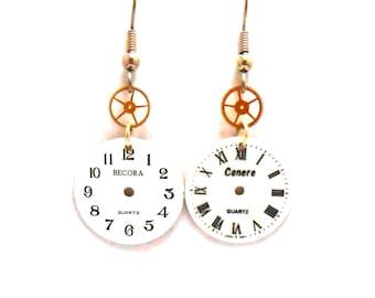 Steampunk Upcycled Watch Dial Watch Face Watch Gear Surgical Steel Shepherd Hook Earrings