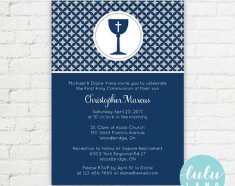 Modern Chalice Printable First Communion Invitation