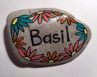 basil handpainted garden rock marker